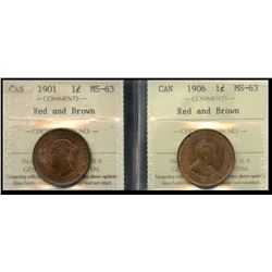 1901 1¢ & 1906 ICCS Choice Mint State-63RB.  Lot of 2 coins.