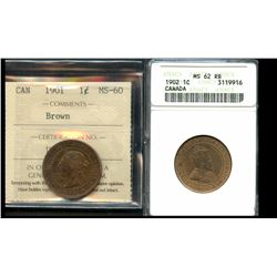 1901 1¢ ICCS Mint State-60 & 1902 ANACS Choice Mint State-62.  Lot of 2 coins.