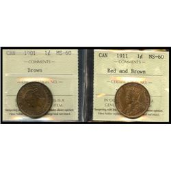 1901 1¢ & 1911 ICCS Mint State-60.  Lot of 2 coins.
