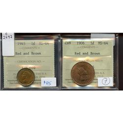 1901 1¢, 1909, 1912 Red and Brown, 1915 1¢ Red and Brown, ICCS graded MS-60 to MS-62.  Lot of 4 coin