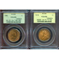 1902 1¢ & 1916 PCGS Choice Mint State-64RB.  Lot of 2 coins.