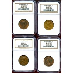 1903 1¢, 1905, 1915 & 1916 Choice Mint State-63BN to RB.  Lot of 4 coins.