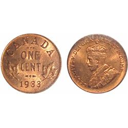 1933 1¢ ICCS Choice Mint State-64RD.  Super lustrous issue 100% red.