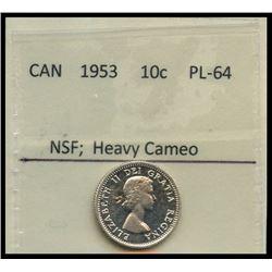 1953 10¢ NSF BU.  Bright Cameo finish.