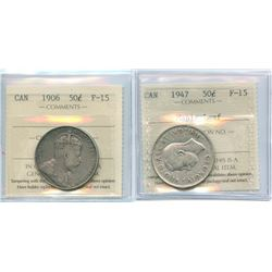 1906 50¢ & 1947 ML ICCS Fine-15.  Lot of 2 coins.