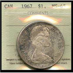1967 $1 ICCS Gem Mint State-65.  Attractive light rustic tones.