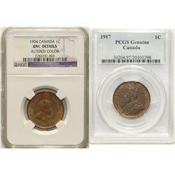 1904 1¢ NGC UNC Details & 1917 1¢ PCGS Genuine.  Lot of problem coins.