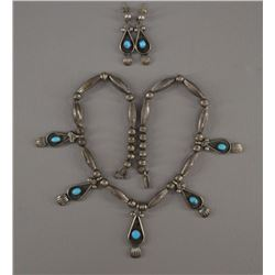 NAVAJO INDIAN NECKLACE AND EARRINGS (A VANDERVER)