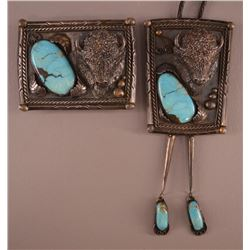 NAVAJO INDIAN BUCKLE AND BOLO SET