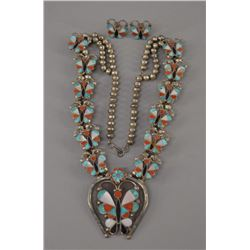 ZUNI INDIAN NECKLACE AND EARRINGS
