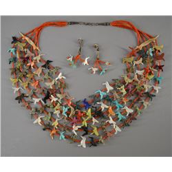 ZUNI INDIAN FETISH NECKLACE AND EARRINGS