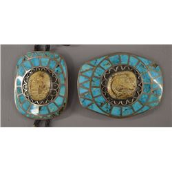 NAVAJO INDIAN BUCKLE AND BOLO