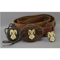 NAVAJO INDIAN CONCHO BELT RING AND BOLO