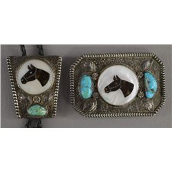 ZUNI INDIAN BUCKLE AND BOLO