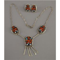 ZUNI INDIAN NECKLACE AND EARRINGS (J A CALAVAZA)