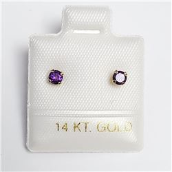 14K Yellow Gold Amethyst Screw Back Earrings, Made in Canada, Suggested Retail Value $160
