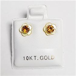 10K Yellow Gold Citrine 2In1(0.3ct) Earrings, Made in Canada, Suggested Retail Value $120