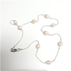 "Silver Fresh Water Peral 18"" Necklace, Suggested Retail Value $100"