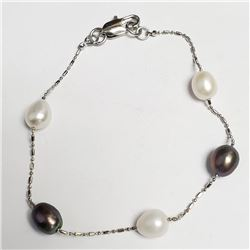 "Silver Fresh Water Pearl 7.5"" Bracelet, Suggested Retail Value $40"