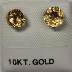 10K White Gold 2 Citrine(1.3ct) Earrings, Made in Canada, Suggested Retail Value $200