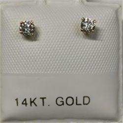 14K Yellow Gold 2 Daimond(0.2ct) Earrings, Made in Canada, Appraised Retail $1033