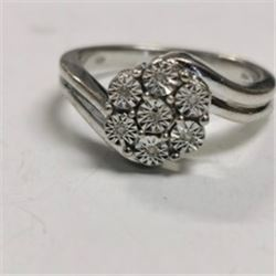 Silver 7 Diamond Ring, Made in Canada, Suggested Retail Value $16