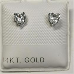 14K White Gold Cubic Zirconia 10Kt Screwback Earrings, Made in Canada, Suggested Retail Value $120