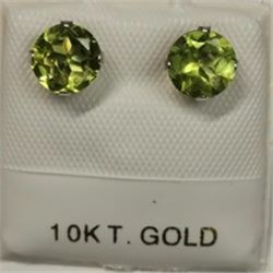 10K White Gold 2 Peridot(1.3ct) Earrings, Made in Canada, Suggested Retail Value $200