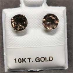 10K White Gold 2 Smoky Quartz(0.8ct) Earrings, Made in Canada, Suggested Retail Value $200