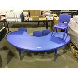 Kids Plastic Desk and Chairs - Blue