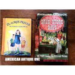 Old American Book The Lord's Prayer (Prayer Text) Drag Store Days (written by Richard Armor) 2 books