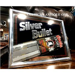 1987 49cm Coors Light Silver Bullet America Pub Mirror