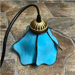 Blue Glass Flower Hanging Plug-In, Convertible Pendant Ceiling Light