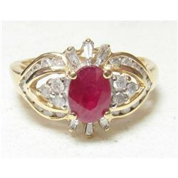 1.10ct Oval Red Ruby & Diamond 14K Gold Estate Ring