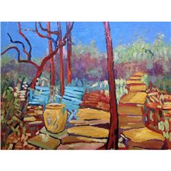 Impressionist Bright Woodland Scene, Landscape Oil Painting