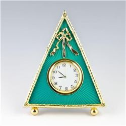 Russian Green Triangle Enameled Guilloche Clock