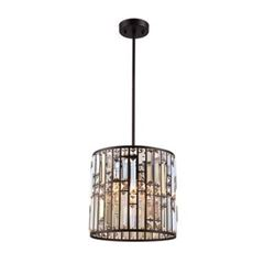 Contemporary Style Crystal & Bronze Ceiling Pendant