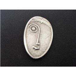 Vintage Art Deco Style Silver Plated Brooch Pin, Man With Spectacles