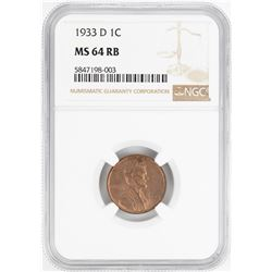 1933-D Lincoln Wheat Cent Coin NGC MS64RB