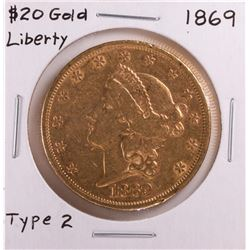 1869 Type 2 $20 Liberty Head Double Eagle Gold Coin