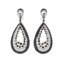 18KT White Gold 4.88 ctw Black, Brown and White Diamond Earrings