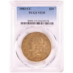 1883-CC $20 Liberty Head Double Eagle Gold Coin PCGS VF35