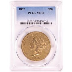 1852 $20 Liberty Head Double Eagle Gold Coin PCGS VF30