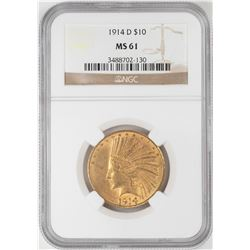 1914-D $10 Indian Head Eagle Gold Coin NGC MS61