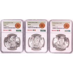 Lot of 1977-1979 Mexico 100 Pesos Silver Coins NGC MS66