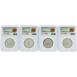 Lot of (4) 1943M Mexico Peso Silver Coins NGC MS64