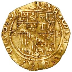 Granada, Spain, 1 escudo, Charles-Joanna, assayer R to right, mintmark G to left, rare.
