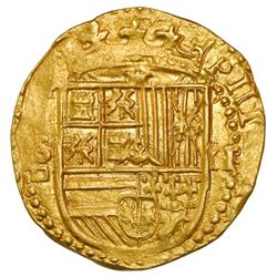 Seville, Spain, cob 2 escudos, Philip II, assayer Gothic D below mintmark to S to left, NGC MS 62.