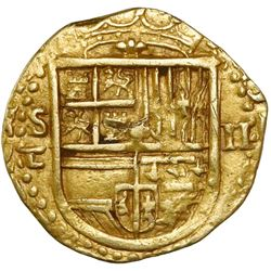 Seville, Spain, cob 2 escudos, Philip II, assayer Gothic D with open right side below mintmark to S