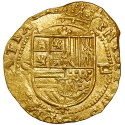 Seville, Spain, cob 1 escudo, Philip II, assayer Gothic D to right, mintmark to S to left, NGC MS 63